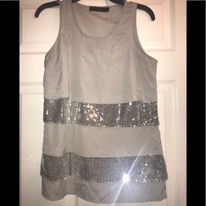 Silver Limited Top with Sequins
